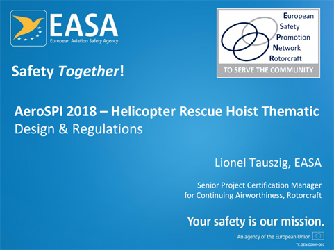 Lionel TAUSZIG - Helicopter Rescue Hoist Thematic - Design And Regulations